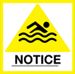 Swimming notice warning sign.