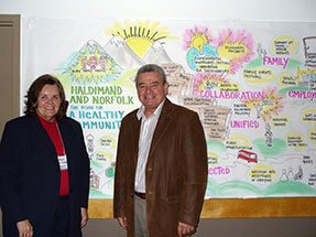 Mayor Marie Trainer and Dennis Travale in front of a mural