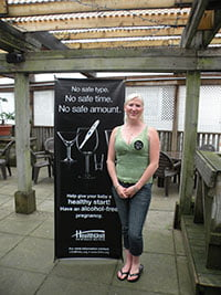 Ashleigh Hedges advertising alcohol free pregnancy