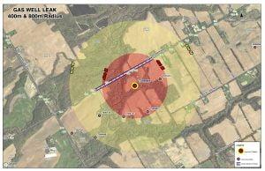 Hydrogen sulphide gas leak map.