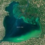 arial shot of Blue Green algae in Lake St. Clair