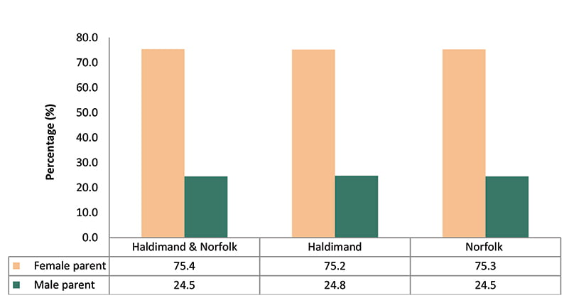 Lone Parent Families, Private Households, by Sex, Haldimand and Norfolk, 2016