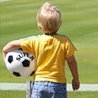 toddler with a soccer ball