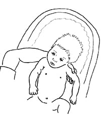 drawing of how to support the head of a baby while bathing it