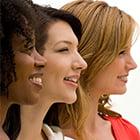 3 women looking happy