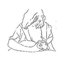 drawing of woman in cross cradle position for breastfeeding