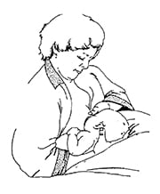 drawing of football position for breastfeeding
