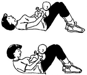 drawing of a woman doing curl ups with her baby on her tummy