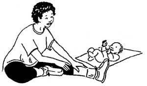 drawing of a woman doing a hamstring stretch with her baby next to her