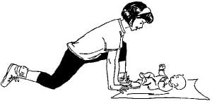 drawing of a woman doing a kneeling lunge with her baby in front of her