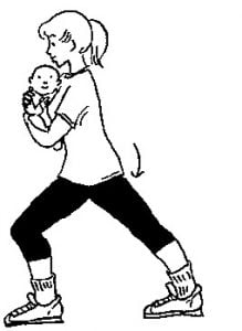 drawing of a woman doing a calf stretch with her baby in her arms